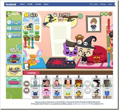 Pets hanging out in Facebook's Pet Society.